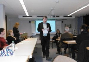 T. Berger, A. Derganc, študenti, na desni J. Raecke, študenti, lektorica